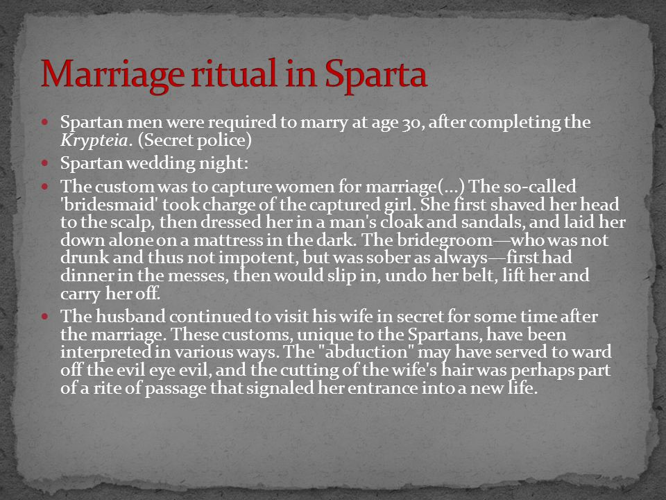 Marriage ritual in Sparta