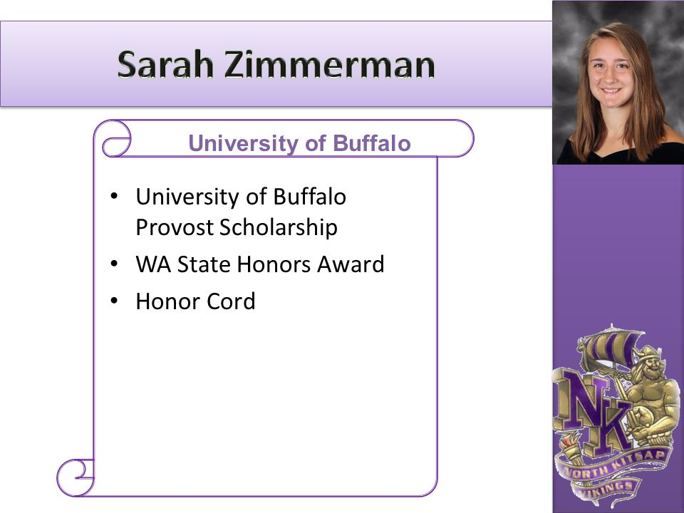 Sarah Zimmerman University of Buffalo Provost Scholarship