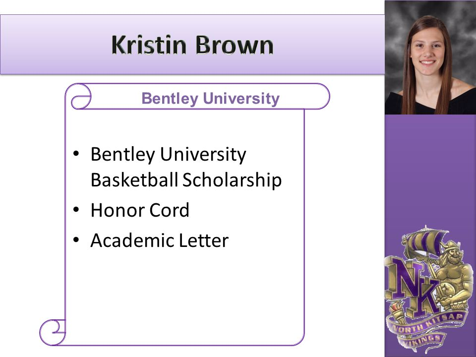 Kristin Brown Bentley University Basketball Scholarship Honor Cord