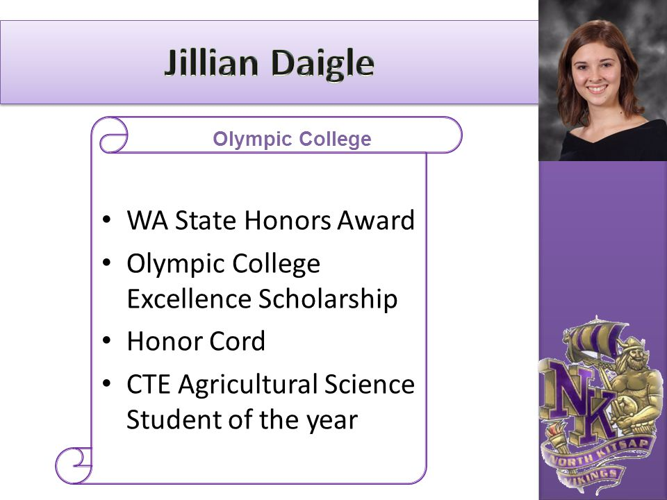 Jillian Daigle WA State Honors Award