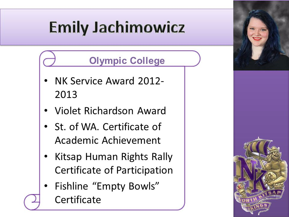 Emily Jachimowicz NK Service Award 2012-2013 Violet Richardson Award