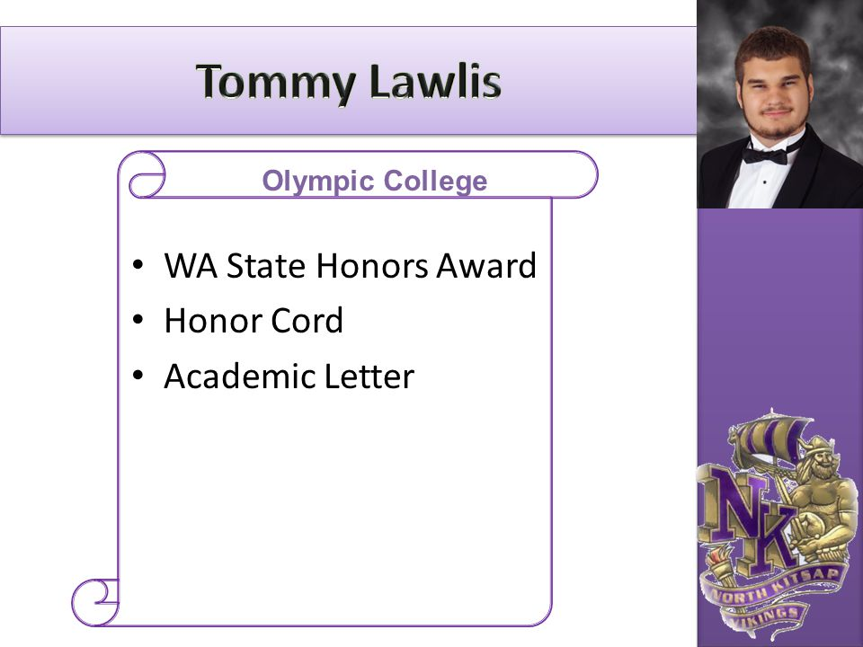Tommy Lawlis WA State Honors Award Honor Cord Academic Letter