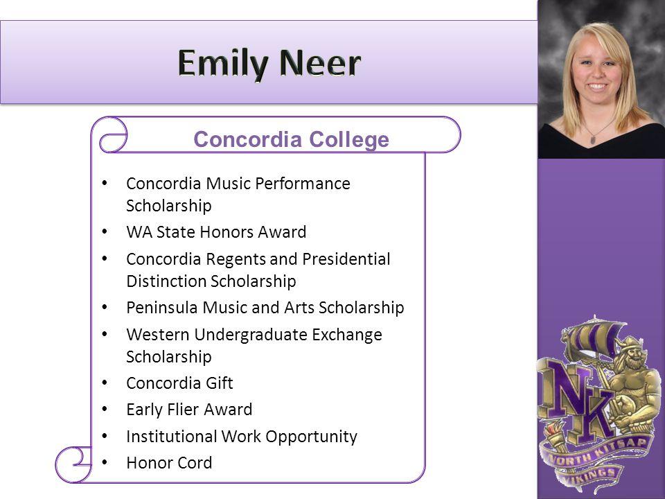Emily Neer Concordia College Concordia Music Performance Scholarship