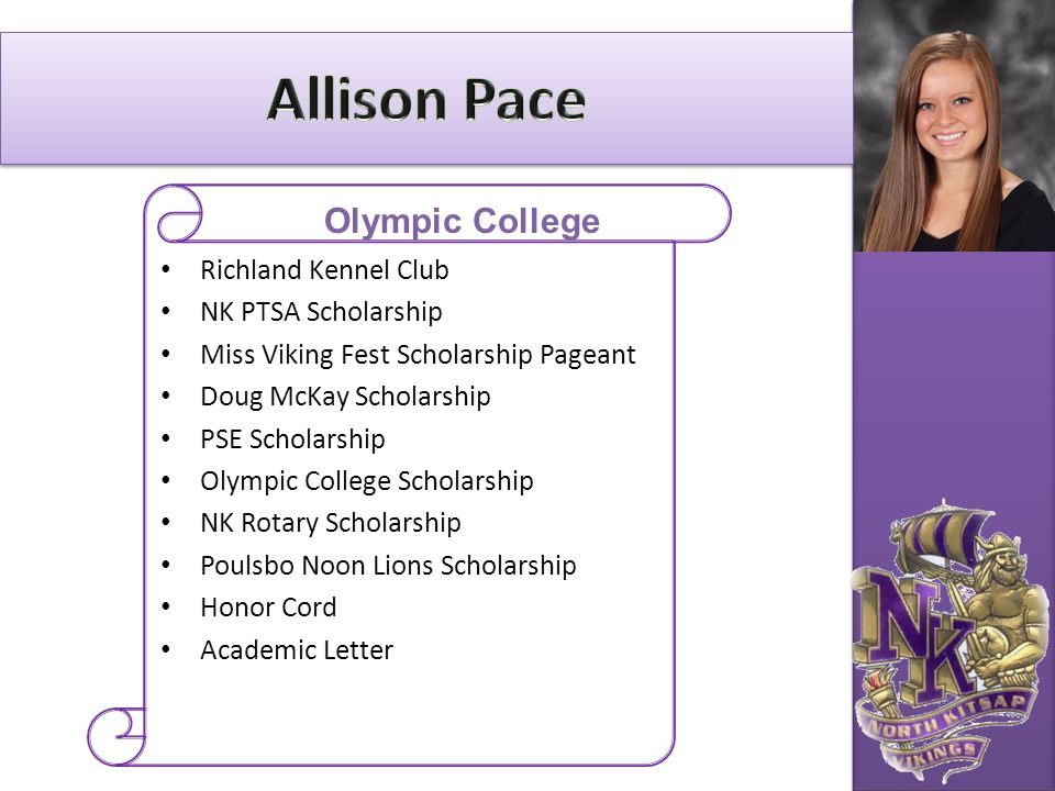 Allison Pace Olympic College Richland Kennel Club NK PTSA Scholarship