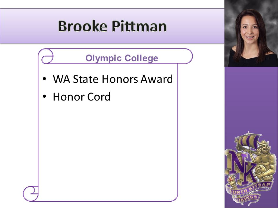 Brooke Pittman Olympic College WA State Honors Award Honor Cord