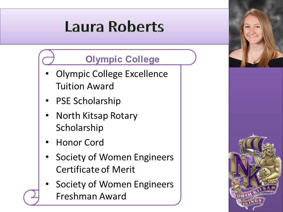 Laura Roberts Olympic College Excellence Tuition Award PSE Scholarship