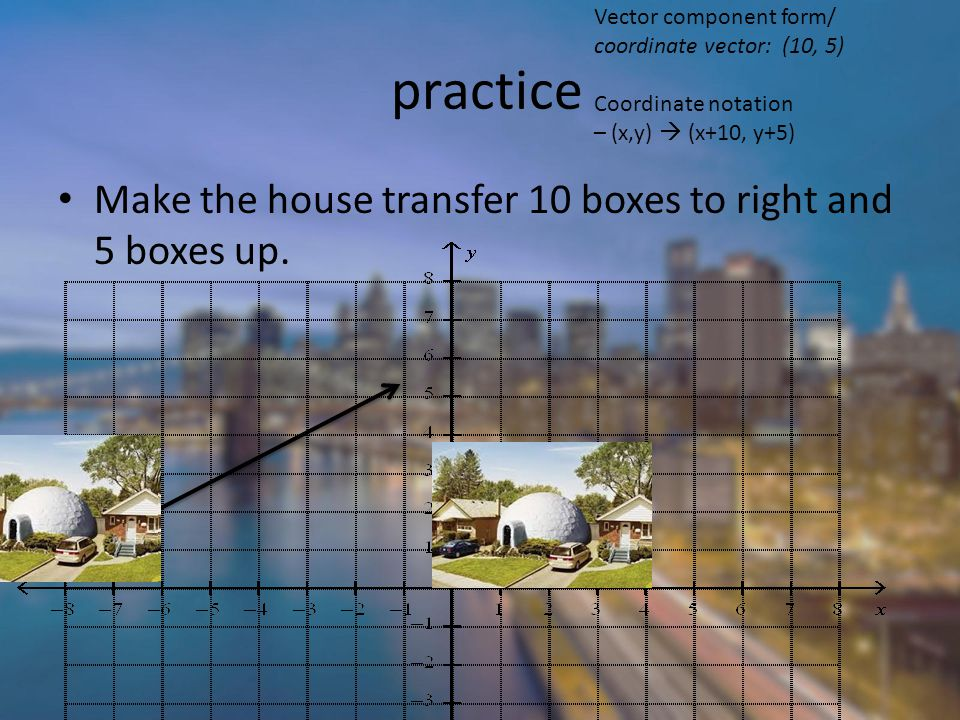 practice Make the house transfer 10 boxes to right and 5 boxes up.
