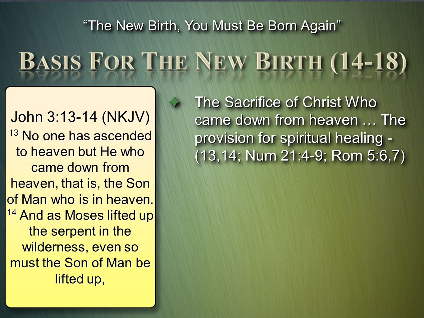 The New Birth, You Must Be Born Again