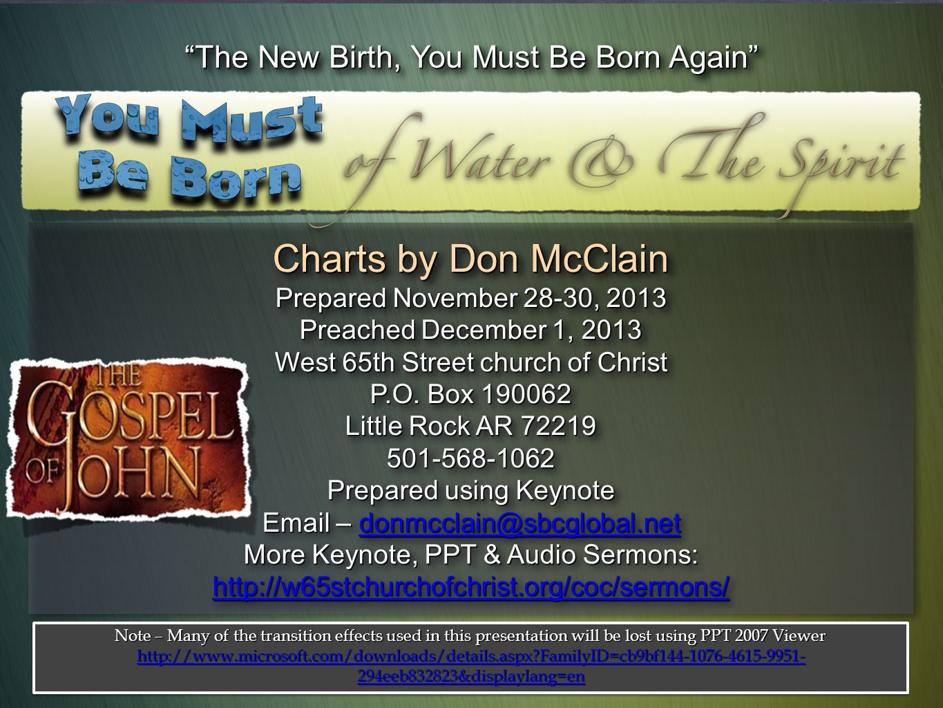 Charts by Don McClain The New Birth, You Must Be Born Again
