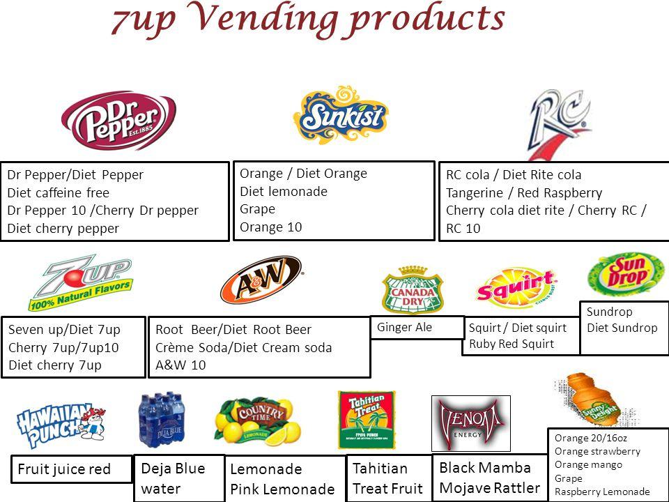 7up Vending products Fruit juice red Deja Blue water Lemonade