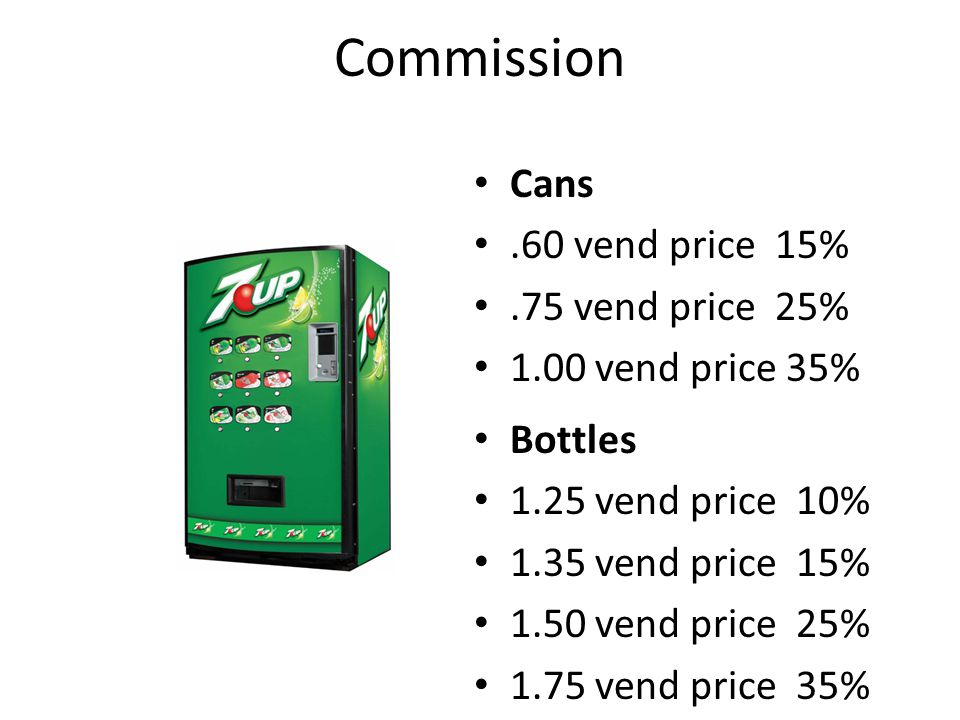 Commission Cans .60 vend price 15% .75 vend price 25%