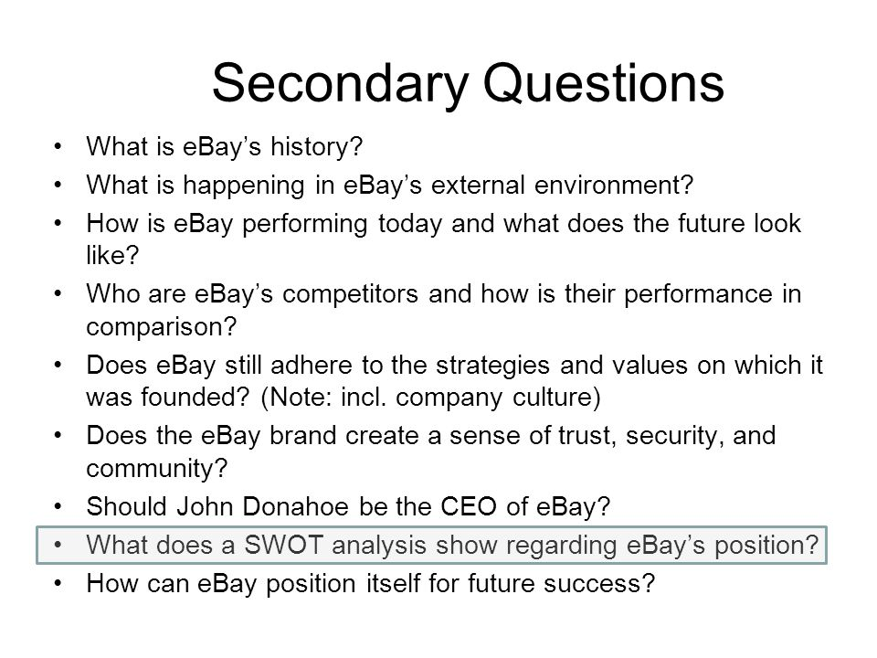 Secondary Questions What is eBay's history