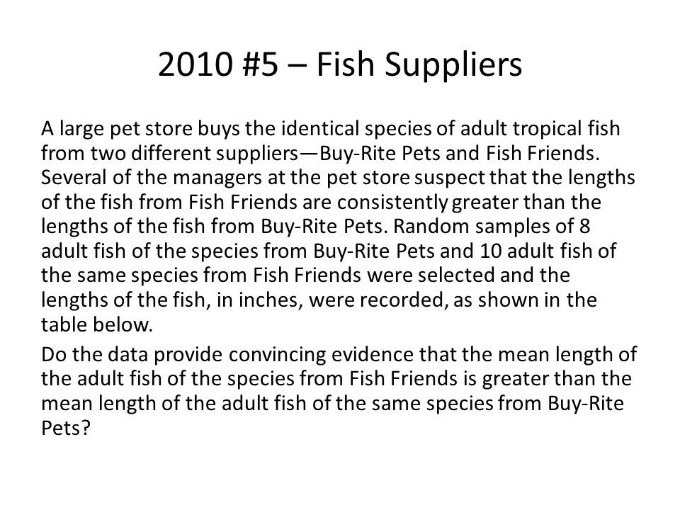 2010 #5 – Fish Suppliers