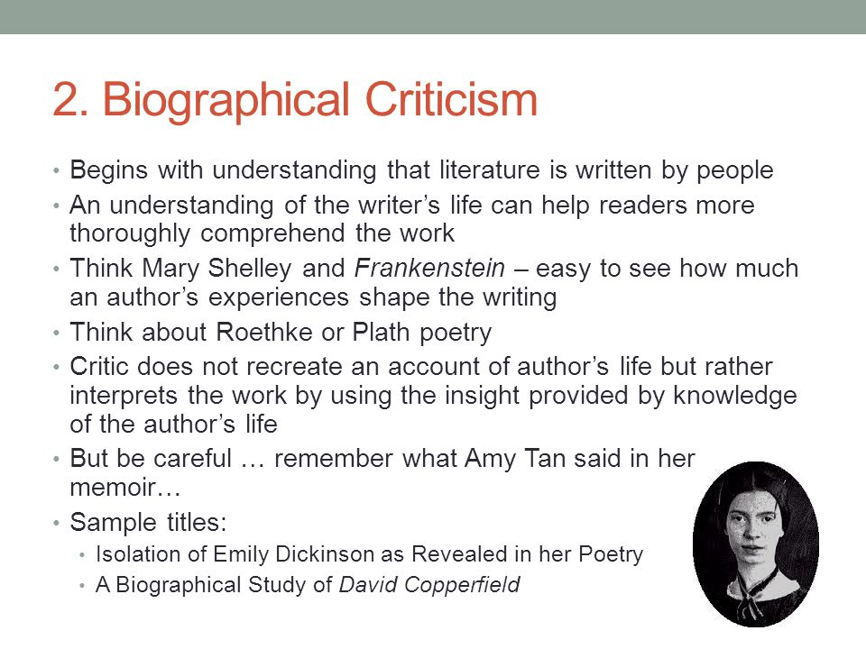 biographical critisicsm Critical approaches  as how a conservative christian would respond to gangsta rap or vice versa (discussions of the author's experience is biographical criticism.