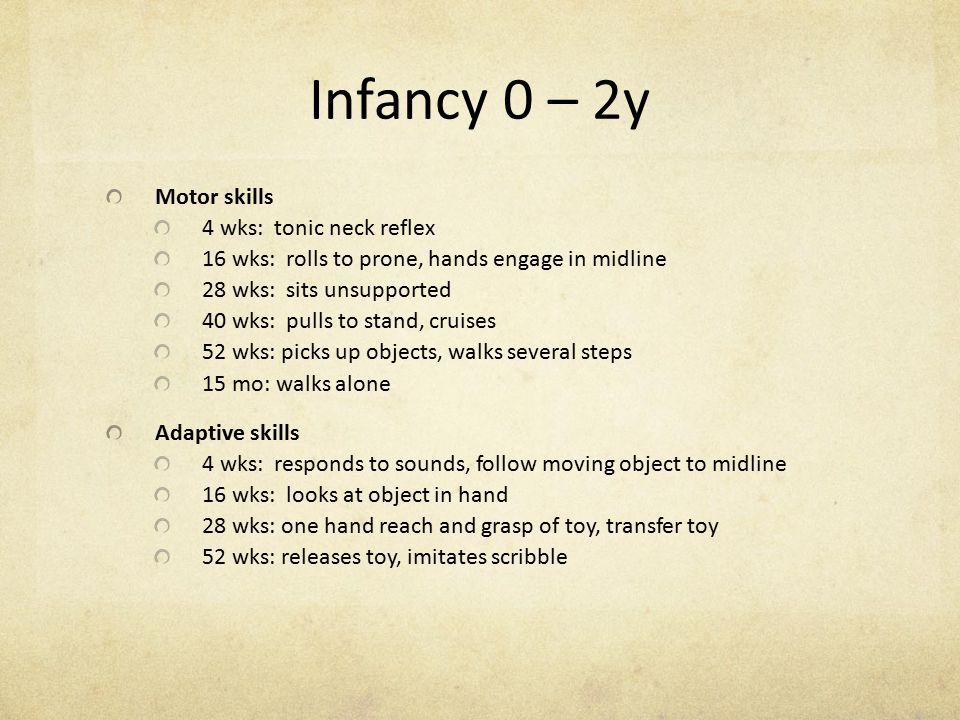 Infancy 0 – 2y Motor skills 4 wks: tonic neck reflex