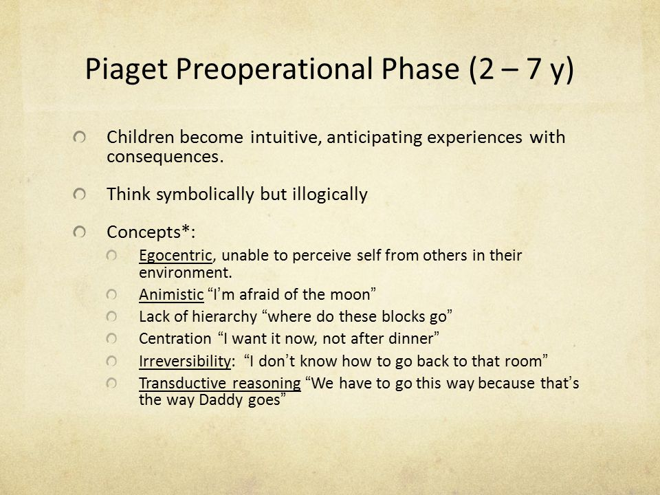 Piaget Preoperational Phase (2 – 7 y)