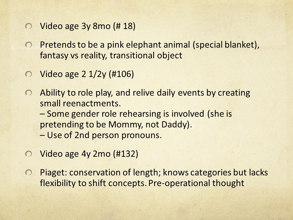 Video age 3y 8mo (# 18) Pretends to be a pink elephant animal (special blanket), fantasy vs reality, transitional object.