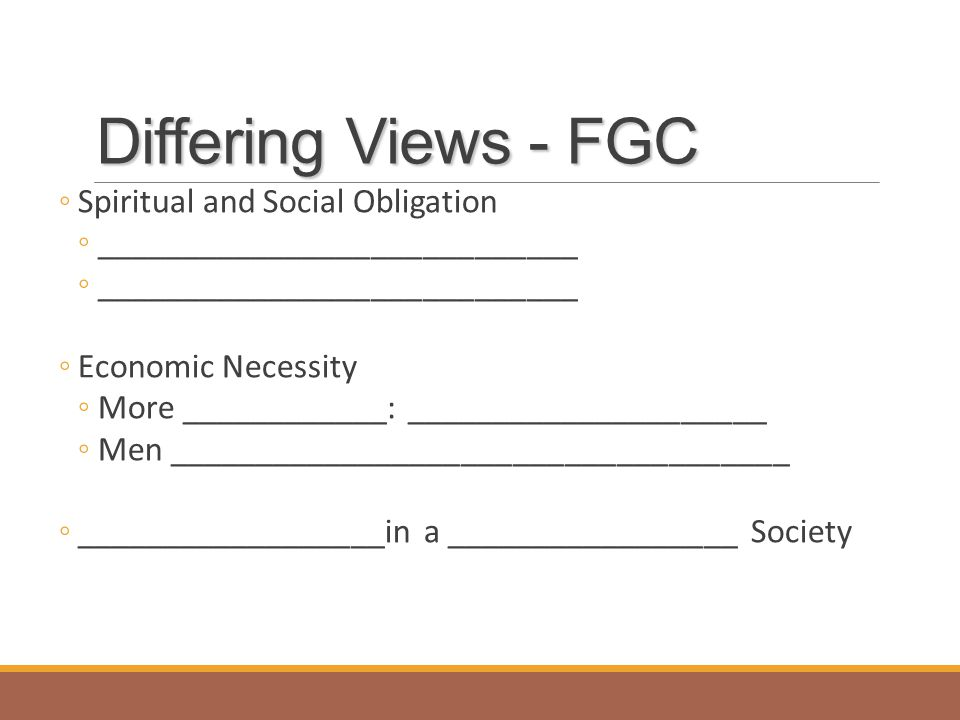 Differing Views - FGC Spiritual and Social Obligation