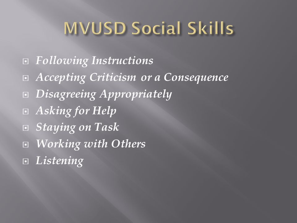 MVUSD Social Skills Following Instructions