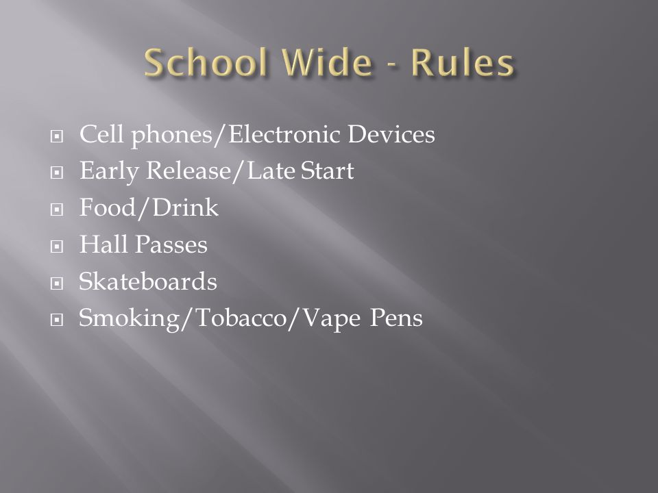 School Wide - Rules Cell phones/Electronic Devices