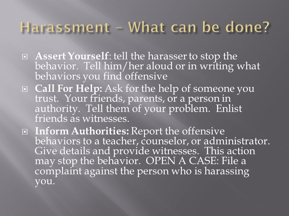 Harassment – What can be done