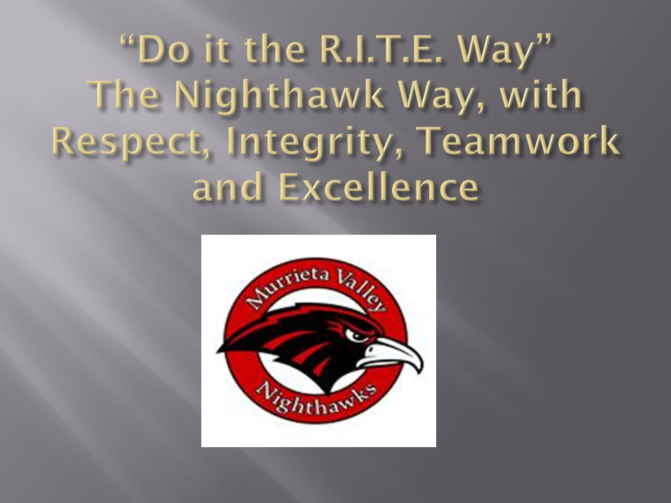 Do it the R.I.T.E. Way The Nighthawk Way, with Respect, Integrity, Teamwork and Excellence