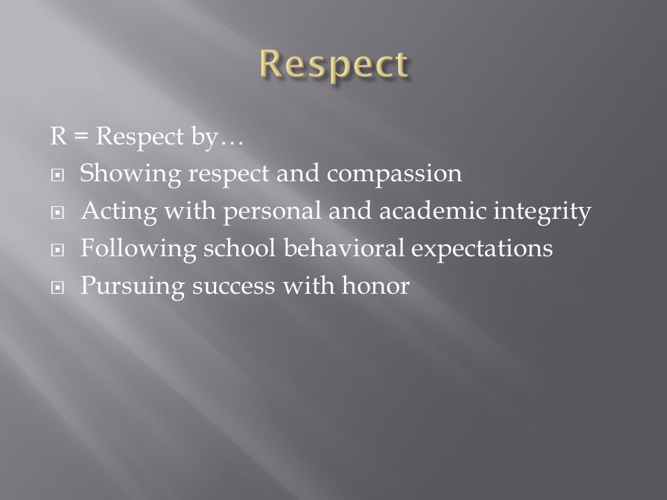 Respect R = Respect by… Showing respect and compassion