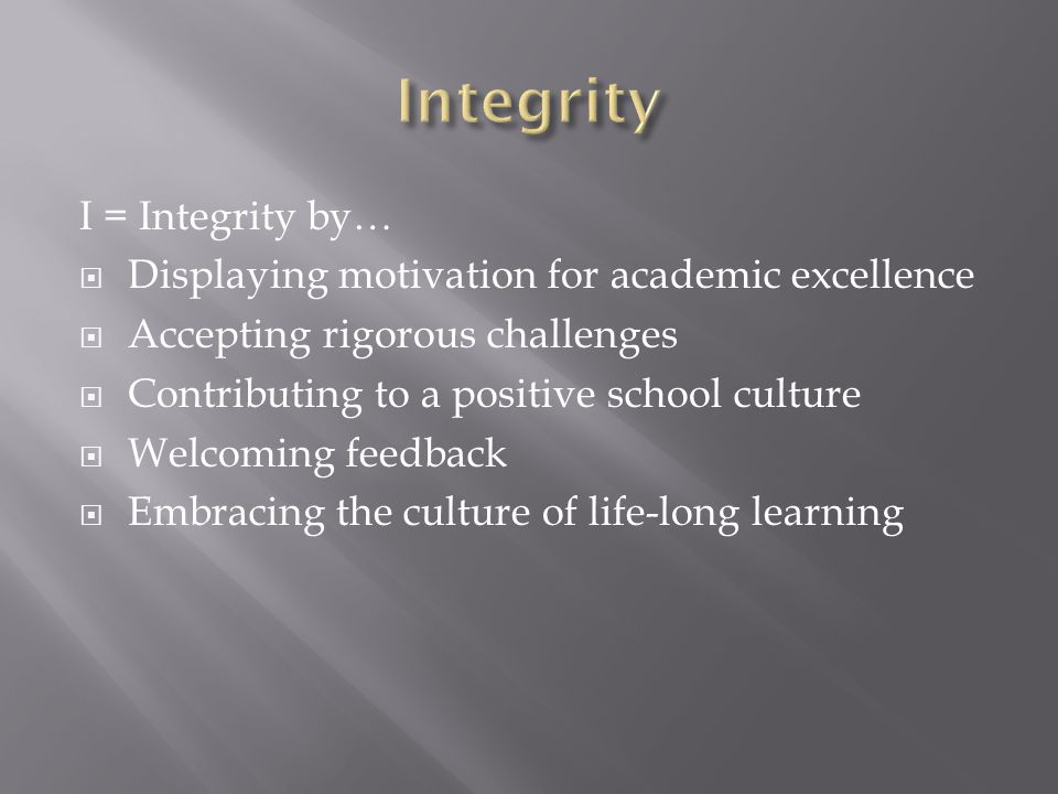 Integrity I = Integrity by…