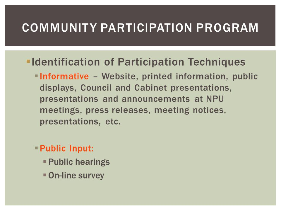 Community Participation Program