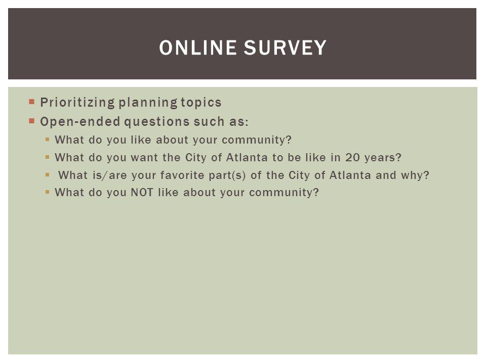 ONLINE Survey Prioritizing planning topics