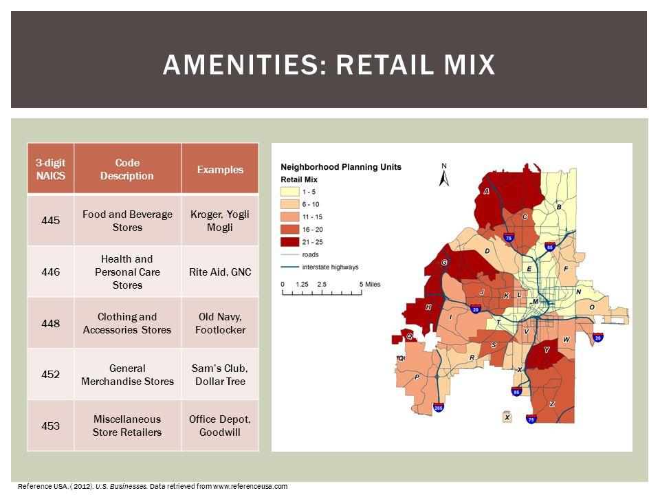 Amenities: Retail Mix 3-digit NAICS Code Description Examples 445