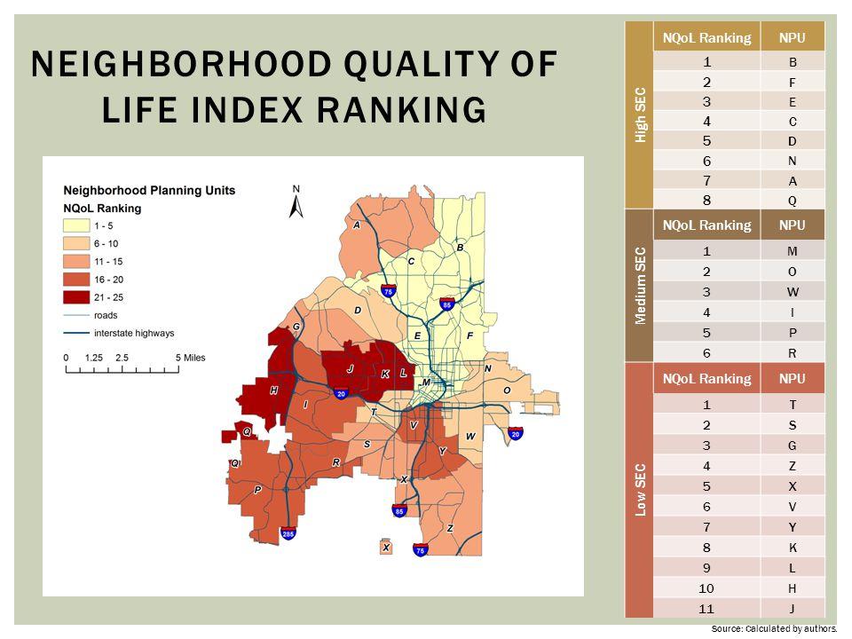 Neighborhood Quality of Life Index Ranking