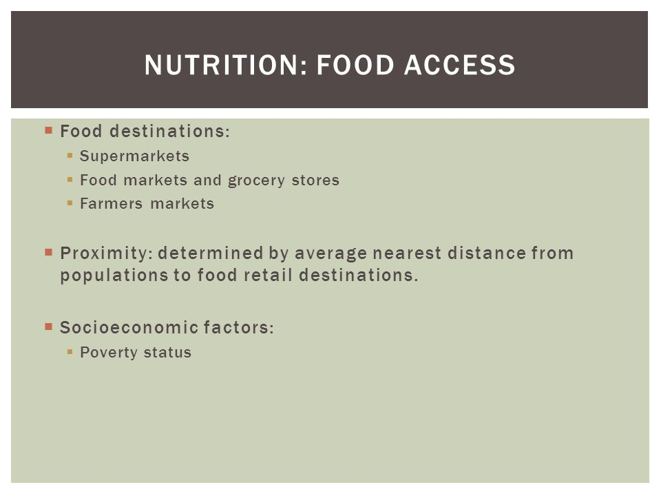 Nutrition: Food Access