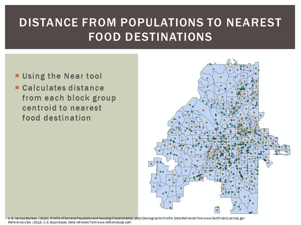 Distance From Populations to Nearest Food Destinations