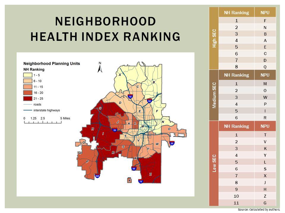 Neighborhood Health Index ranking