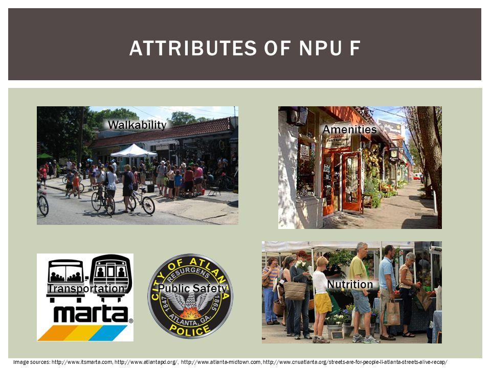 Attributes of npu f Walkability Amenities Nutrition Transportation