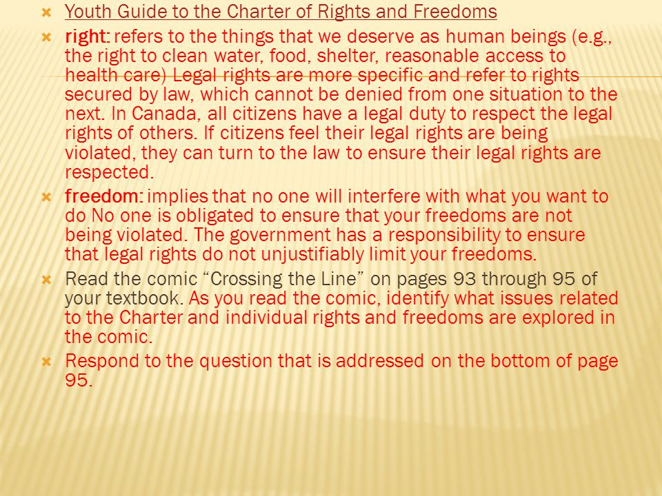 Youth Guide to the Charter of Rights and Freedoms