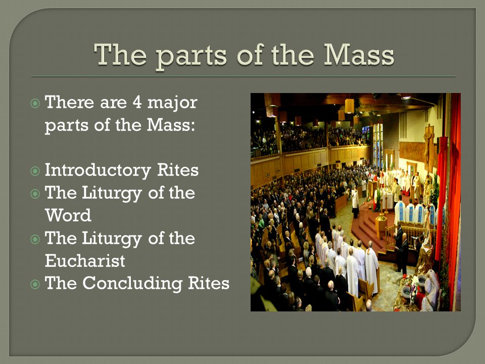 The parts of the Mass There are 4 major parts of the Mass: