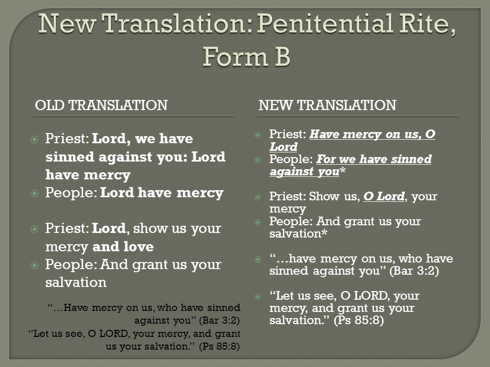 New Translation: Penitential Rite, Form B