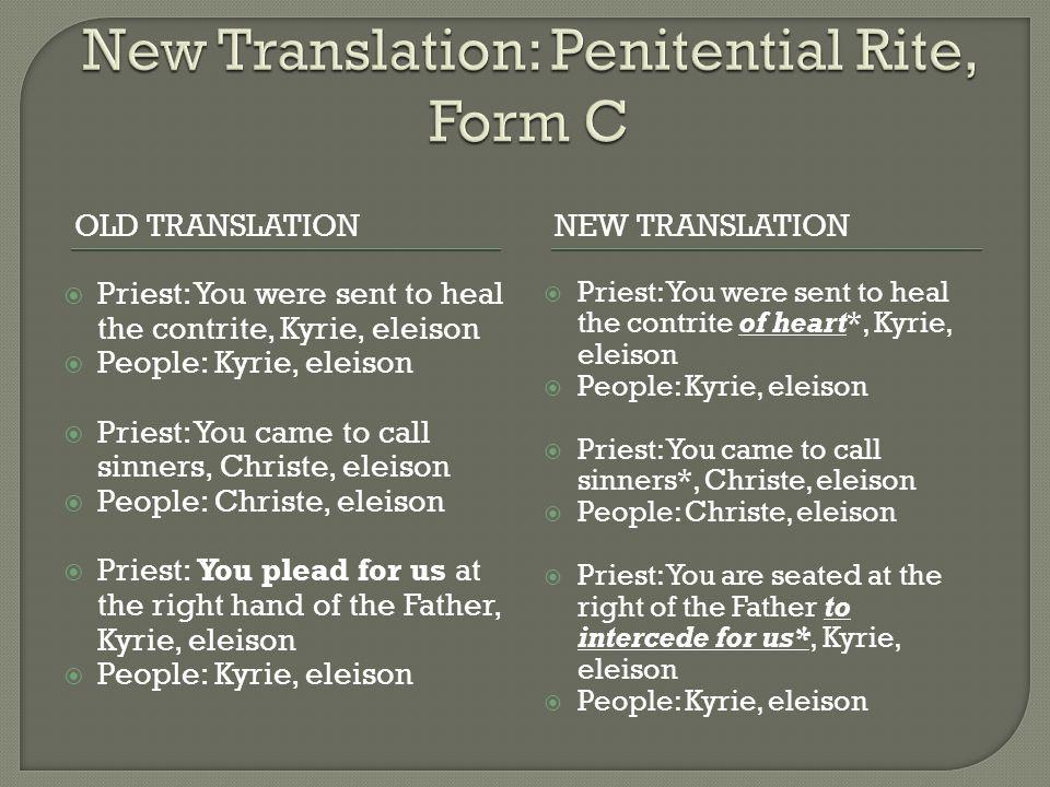 New Translation: Penitential Rite, Form C