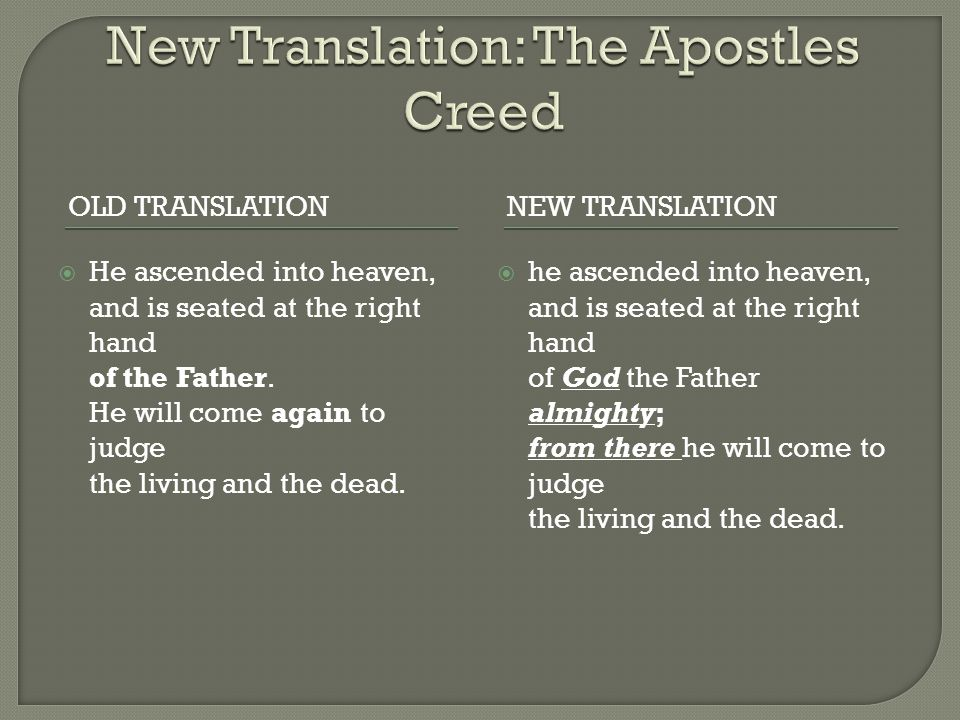 New Translation: The Apostles Creed