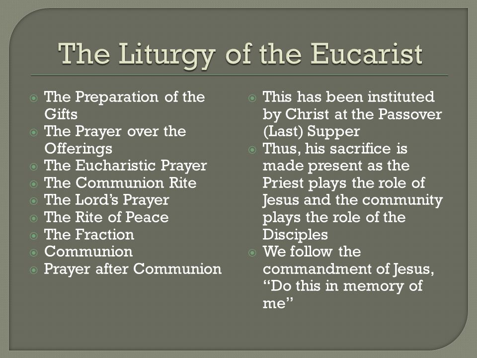 The Liturgy of the Eucarist