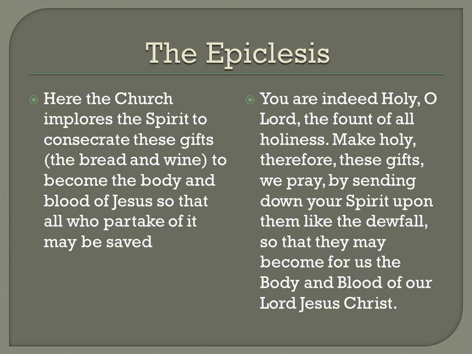 The Epiclesis
