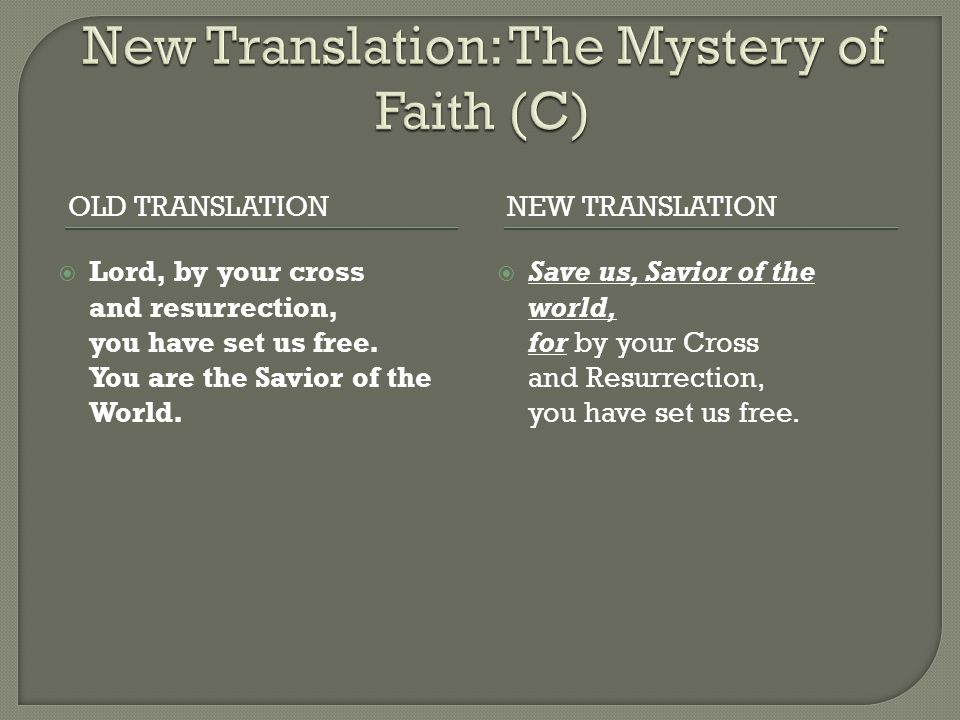 New Translation: The Mystery of Faith (C)