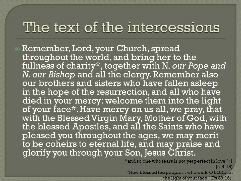 The text of the intercessions