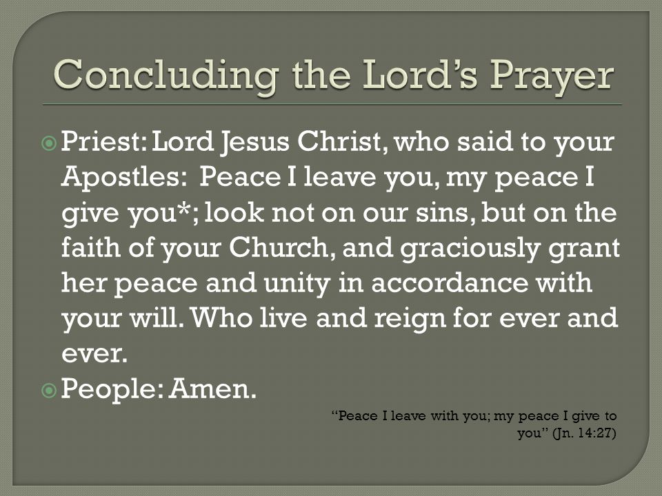 Concluding the Lord's Prayer