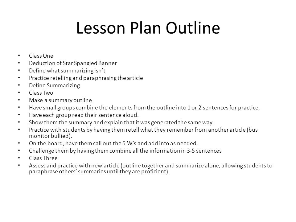 Lesson Plan Outline Class One Deduction of Star Spangled Banner