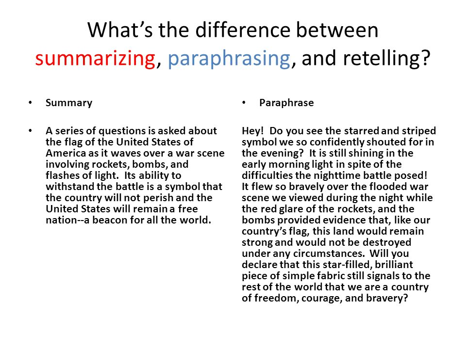 What's the difference between summarizing, paraphrasing, and retelling