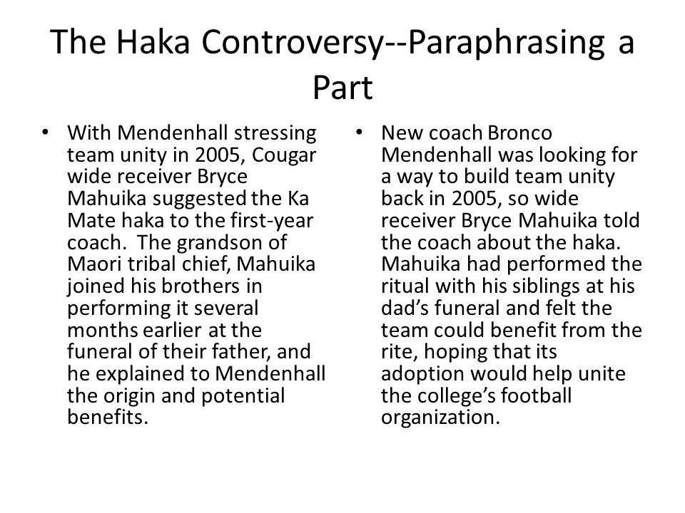 The Haka Controversy--Paraphrasing a Part