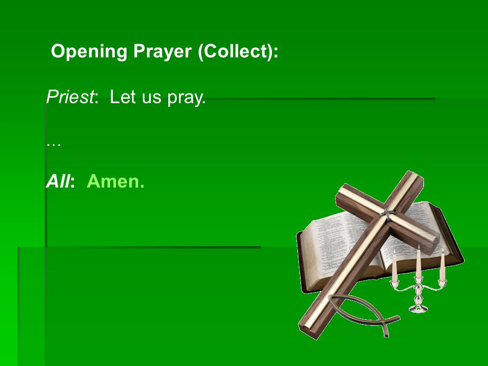 Opening Prayer (Collect): Priest: Let us pray.
